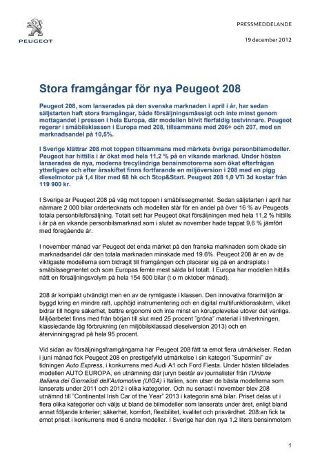 Stora framgångar för nya Peugeot 208