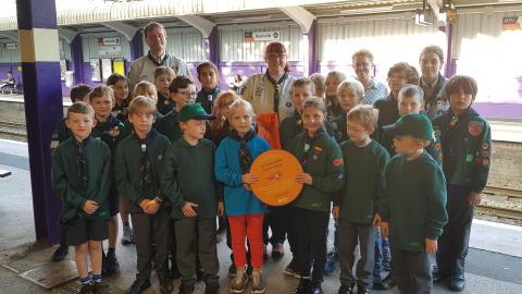 Bournville Scouts unveil railway station plaque