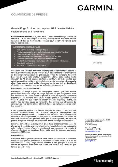 Garmin Edge Explore: le compteur GPS de vélo dédié au cyclotourisme et à l'aventure