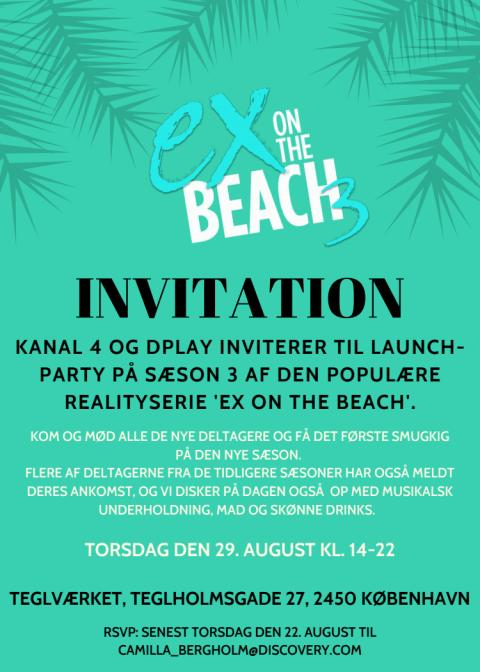 'Ex on the beach' presselaunch event invitation