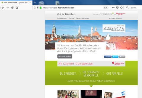 Wer kommenden Donnerstag spendet, hilft doppelt: Die Stadtsparkasse München verdoppelt die eingehenden Beträge
