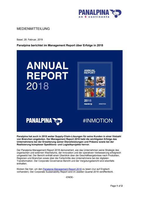 Panalpina berichtet im Management Report über Erfolge in 2018