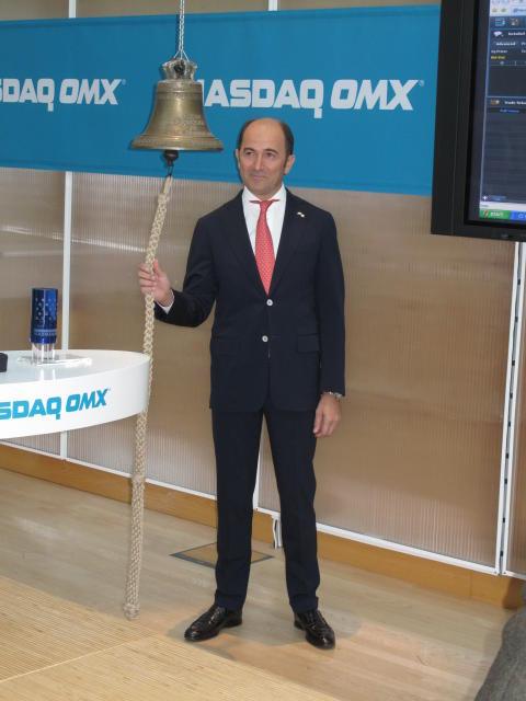 Cavotec CEO Ottonel Popesco rings the NASDAQ OMX trading bell