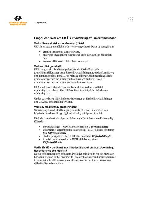 Frågor och svar om UKÄ:s utvärdering av lärarutbildningar