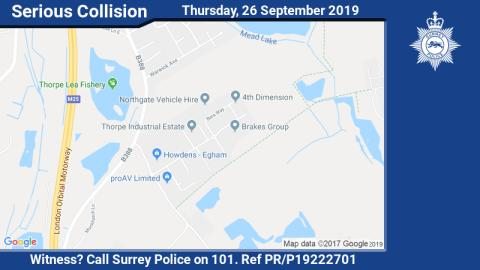 Appeal for information following single vehicle collision in Thorpe