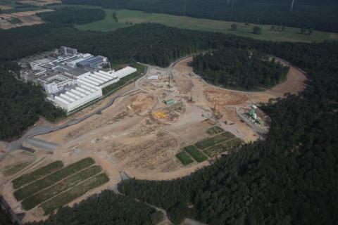 Luftbild der Baustelle für FAIR