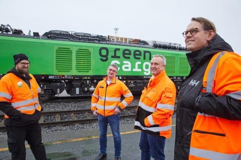 Från vänster: Gøran Cerny (Lokförare), Bjørn Nordby-Kringli (Tågdriftschef), Bengt Fors (VD) och Christian Sesvold (Head of production planning).