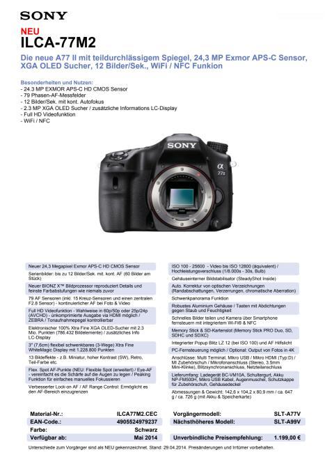 Datenblatt ILCA-77M2 von Sony