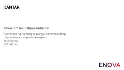 Rapport: Veien mot lavutslippsamfunnet – Kjennskap og holdning til Norges klimamålsetting