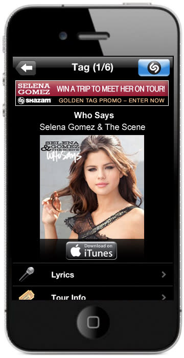 """Shazam Launches First US """"Golden Tag"""" Music Promotion with Celebrity Actress and Singer Selena Gomez"""
