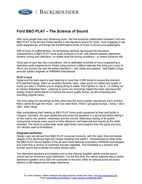 Ford B&O PLAY – The Science of Sound
