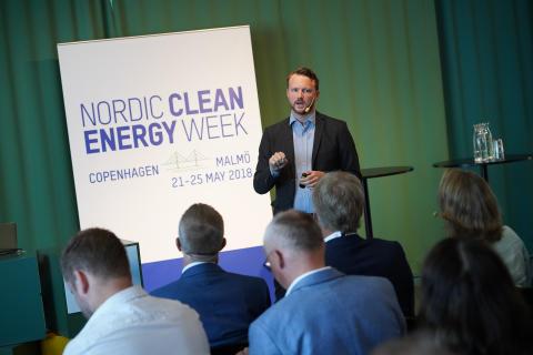 Marcus Friberg, Helsingborgs stad, talar på Nordic Clean Energy Week 2018