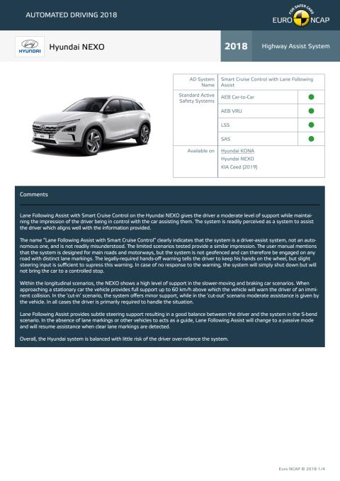 Automated Driving 2018 - Hyundai NEXO datasheet - October 2018