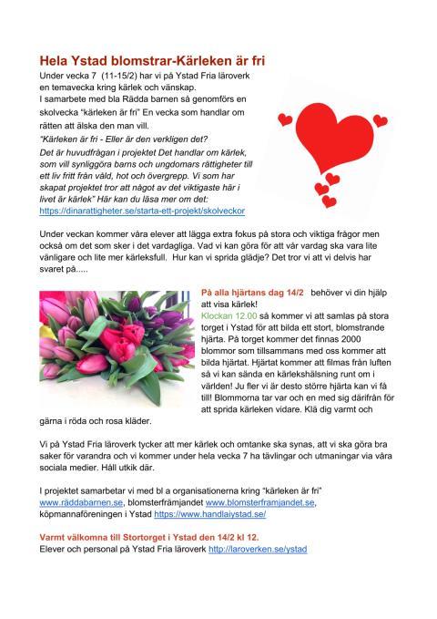 Hela Ystad blomstar - kärleken är fri!