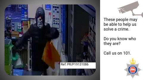 Can you help us identify this man after aggravated burglary at Caterham petrol station?