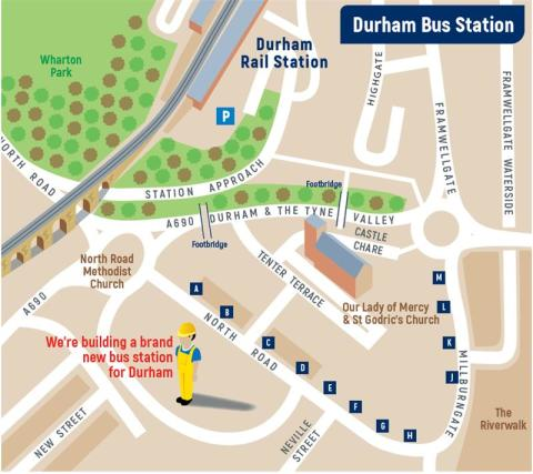 Map of bus stops on North Road and Millburngate