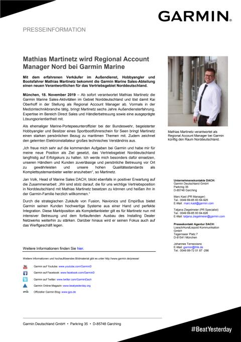 Mathias Martinetz wird Regional Account Manager Nord bei Garmin Marine
