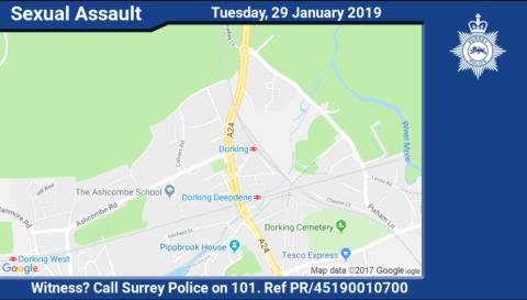 Can you help? Appeal for information after 12-year-old girl sexually assaulted near Dorking train station