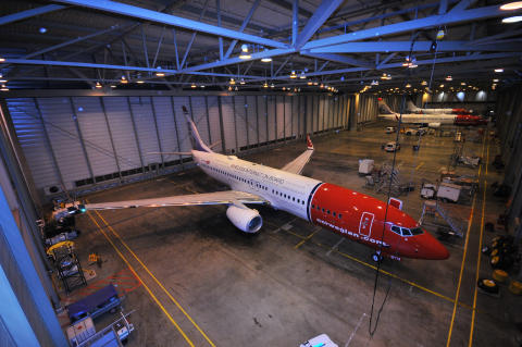 Norwegian-fly i hangar