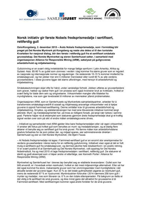 Norsk initiativ gir første Nobels fredsprismedalje i sertifisert, rettferdig gull