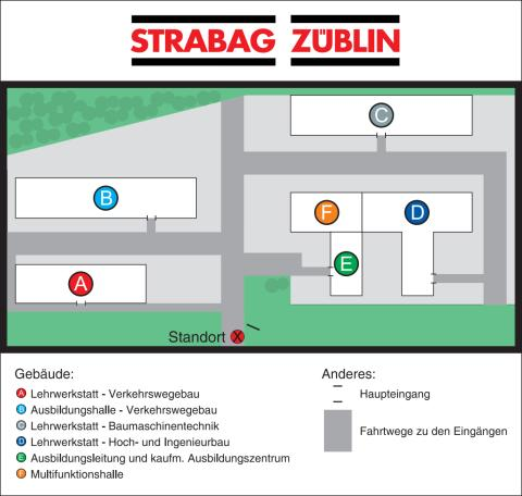 Lageplan STRABAG-Konzernlehrwerkstatt in Bebra