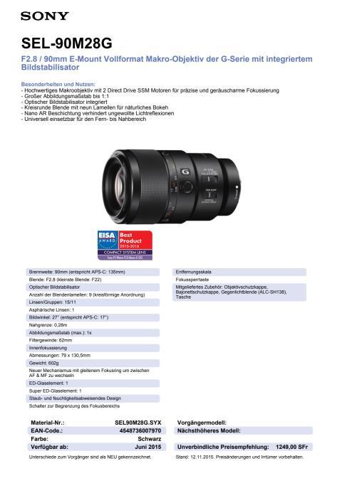Produktdatenblatt SEL-90M28G