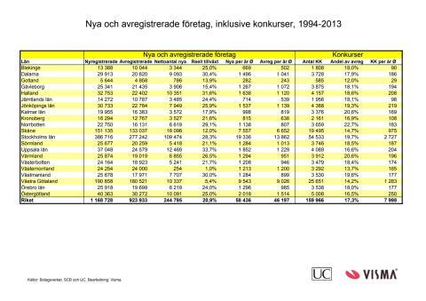 Nya och avregistrerade företag 1994-2013