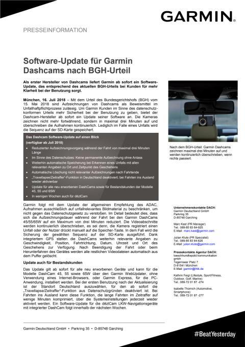 Software-Update für Garmin Dashcams nach BGH-Urteil