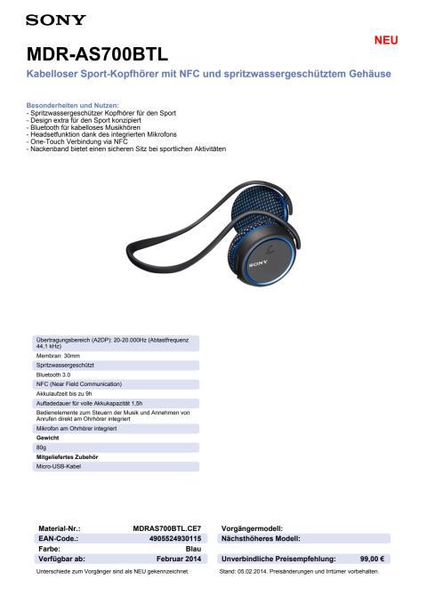 Datenblatt_MDR-AS700BTL von Sony