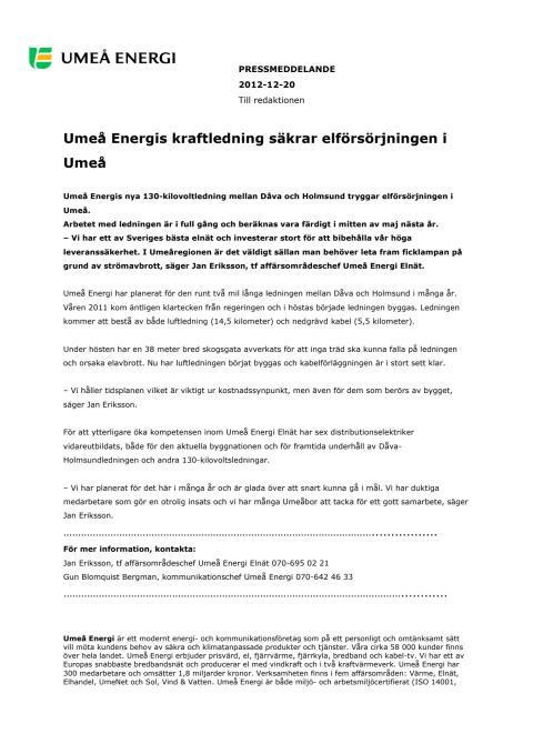 Umeå Energis kraftledning säkrar elförsörjningen i Umeå