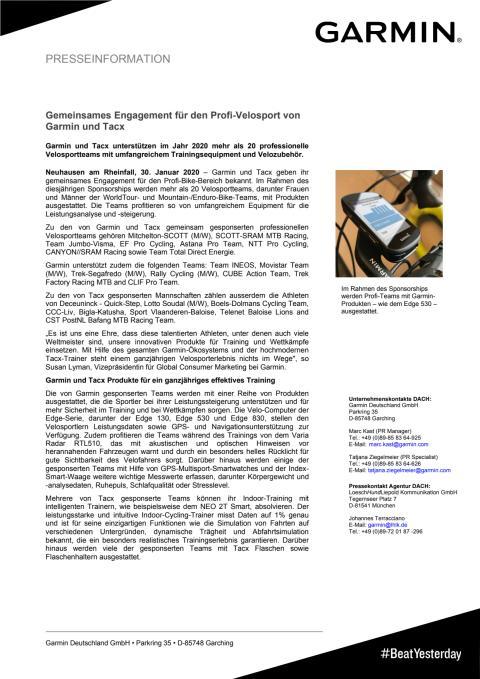Gemeinsames Engagement für den Profi-Velosport von Garmin und Tacx