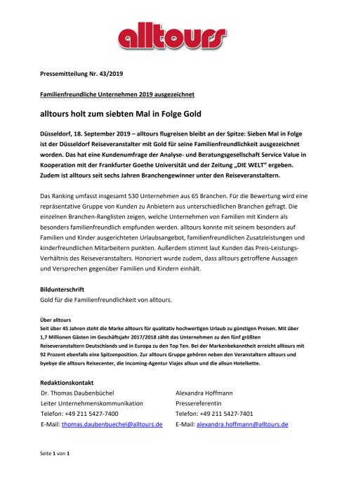 Familienfreundliche Unternehmen 2019 ausgezeichnet - alltours holt zum siebten Mal in Folge Gold