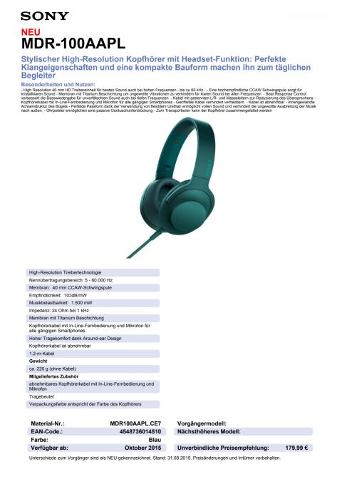 Datenblatt h.ear on von Sony_blau