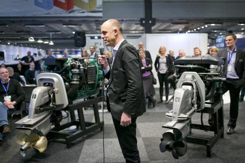 Båtmässan 2014 Pressträff i Volvo Pentas monter