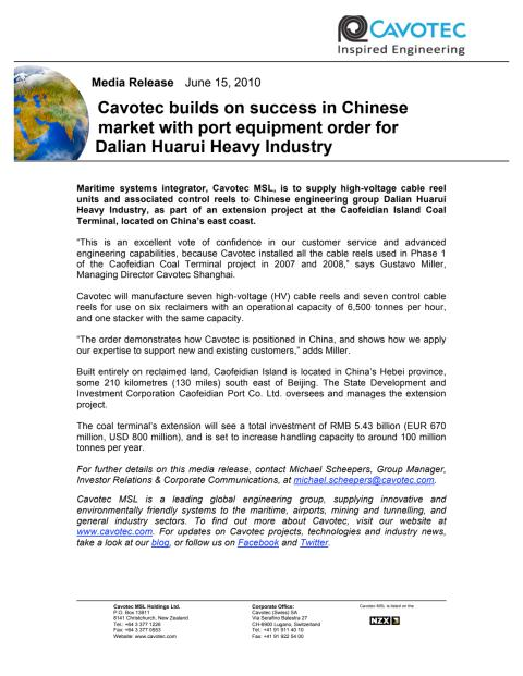 Cavotec builds on success in Chinese market with port equipment order for Dalian Huarui Heavy Industry