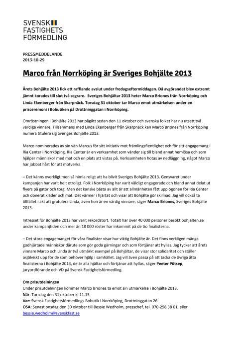 Marco från Norrköping är Sveriges Bohjälte 2013