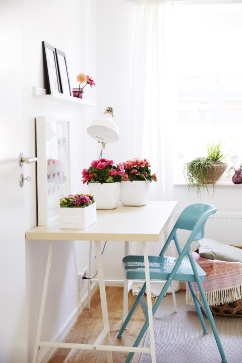 Inred med färgklickar som kalanchoe, begonia och gerbera.