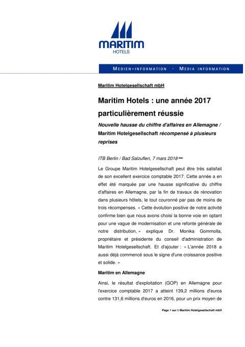 Maritim Hotels : une année 2017 particulièrement réussie
