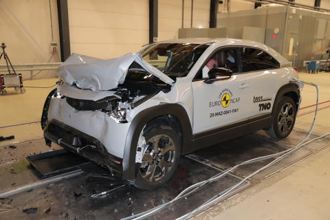 Mazda MX-30 - Full Width Rigid Barrier test 2020 - after crash