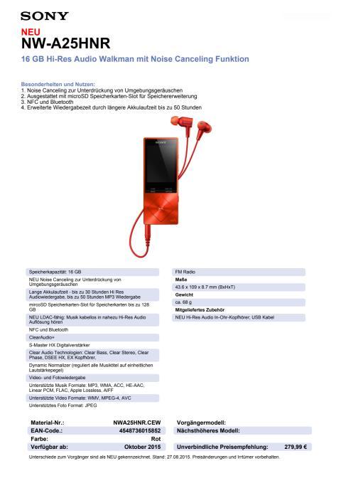 Datenblatt NW-A25HN von Sony_rot