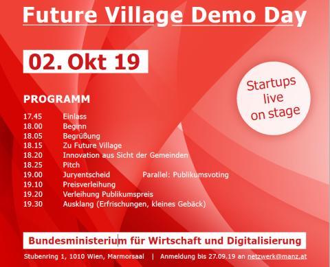 ABGESAGT! Digitale Lösungen für Österreichs Gemeinden: Future Village Demo Day am 2.10.2019 in Wien