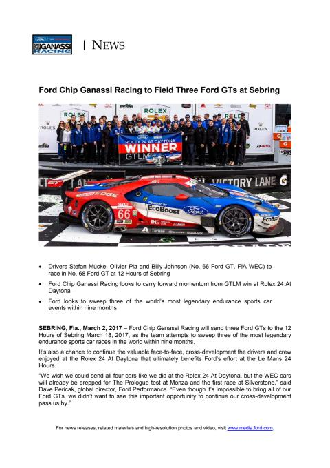 MOTORSPORT: Ford Chip Ganassi Racing to Field Three Ford GTs at Sebring
