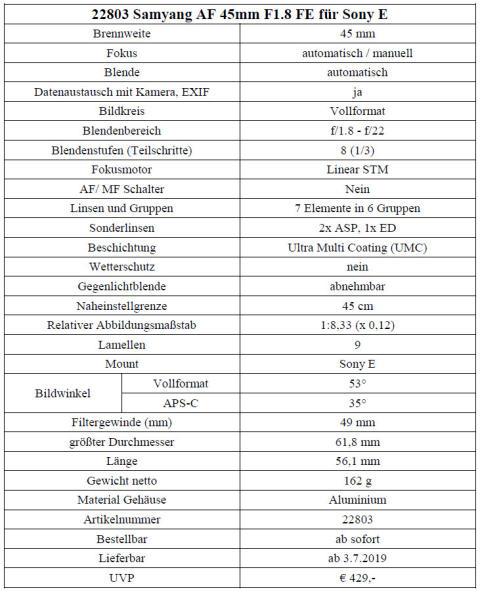 Samyang AF 45 1.8 FE 07 Technische Daten