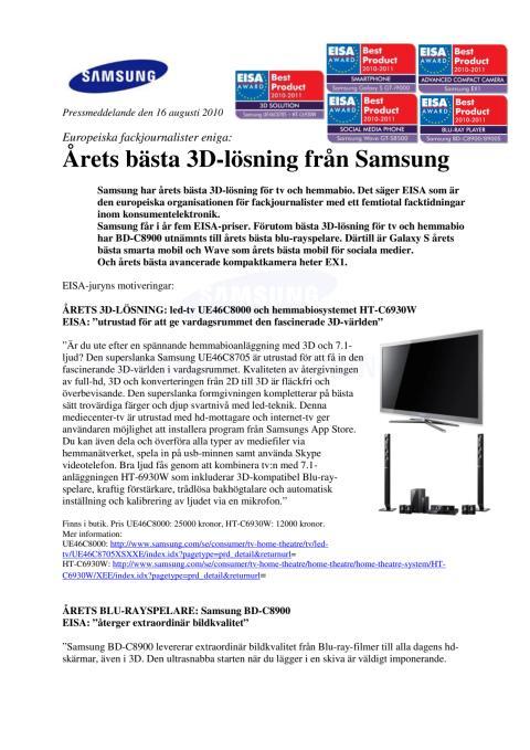 Årets bästa 3D-lösning från Samsung