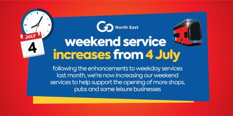 Weekend service increases from Saturday 4 July