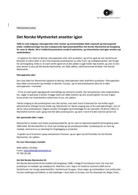 Det Norske Myntverket ansetter igjen