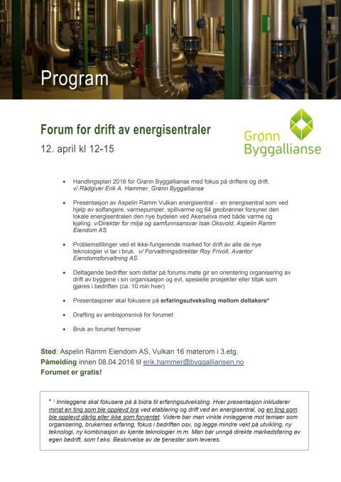 Forum for drift av energisentraler - Program 12. april 2016