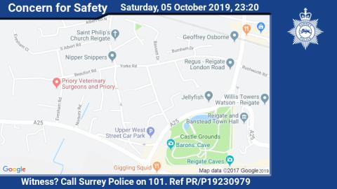 Did you see a car being driven erratically in Reigate last night?
