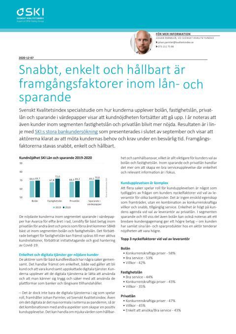 SKI Lån och sparande 2020 Snabbt, enkelt och hållbart är framgångsfaktorer inom lån- och sparande