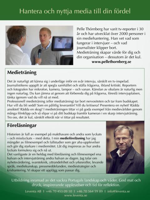 Pelle Thörnberg, journalist och mediatränare